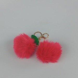 Janshop Kersen imitatiebont fluffy ball pompom sleutelhanger