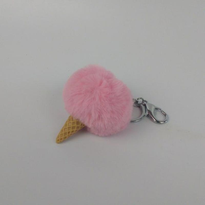 IJsje imitatiebont fluffy ball pompom sleutelhanger