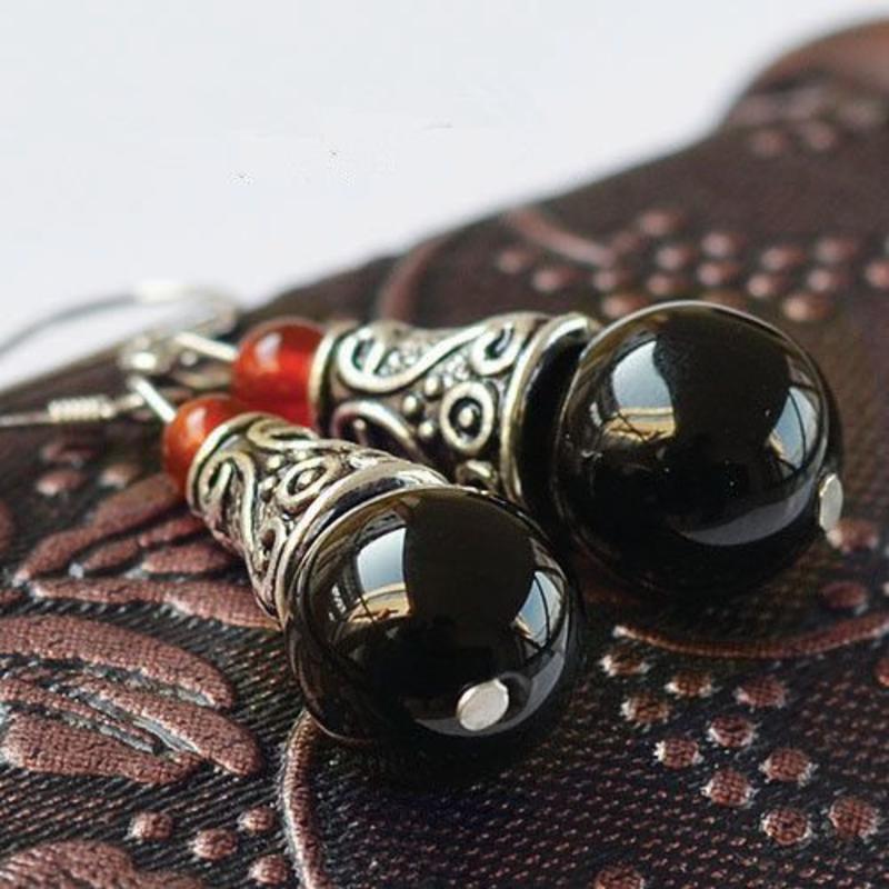 Janshop Zwarte Agaat Tibetaans zilver Oorbellen
