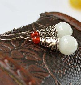 Witte Jade Tibetaans zilver Oorbellen