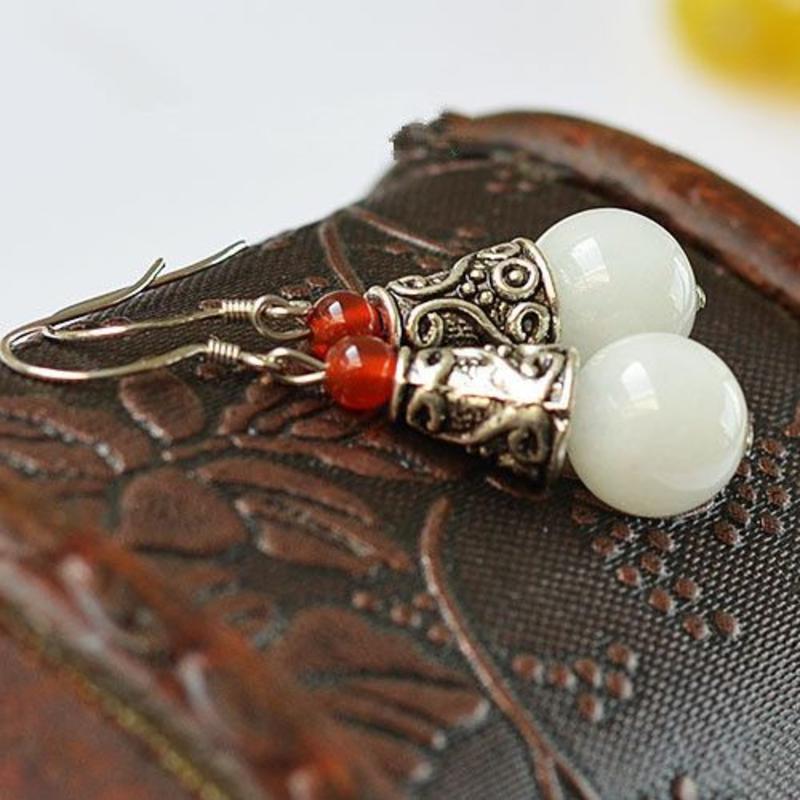 Janshop Witte Jade Tibetaans zilver Oorbellen