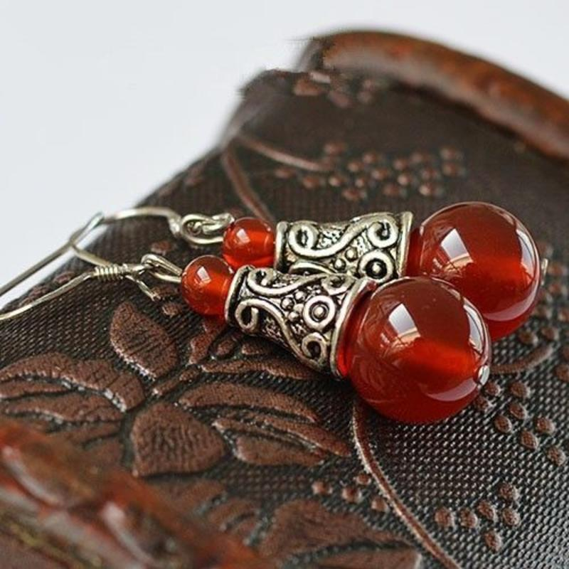 Janshop Rode Agaat Tibetaans zilver Oorbellen