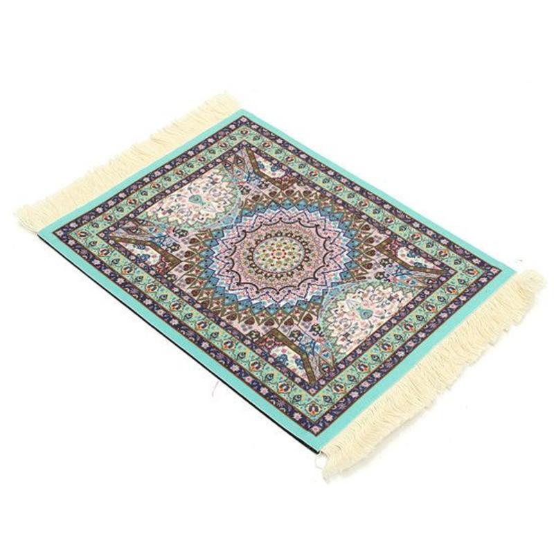 Janshop Lichtblauw 280x180mm Vintage Muismat Perzisch Tapijt Met Kwastjes