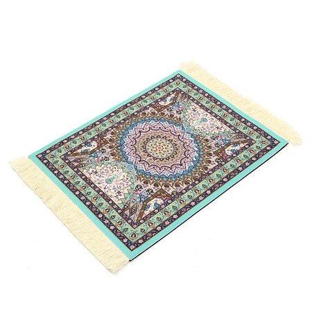 Lichtblauw 280x180mm Vintage Muismat Perzisch Tapijt Met Kwastjes