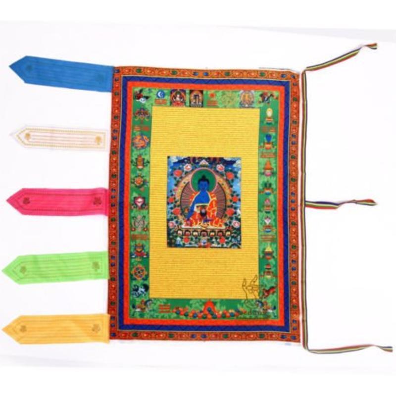 Janshop Blauwe Boeddha Windpaard Gebedsvlag 68 x 94cm