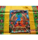 Blauwe Boeddha Windpaard Gebedsvlag 68 x 94cm