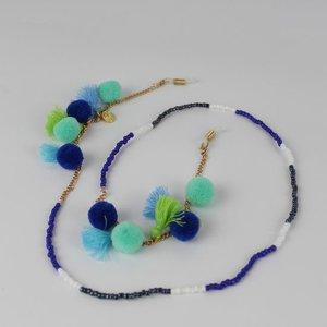 Brillenkoord hip Ibiza kraaltjes pom pom tassel blauw