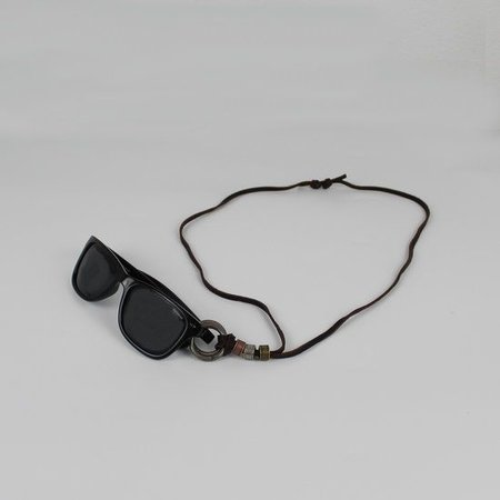 Brillenkoord hip Ibiza lederen koord met dubbele ringen