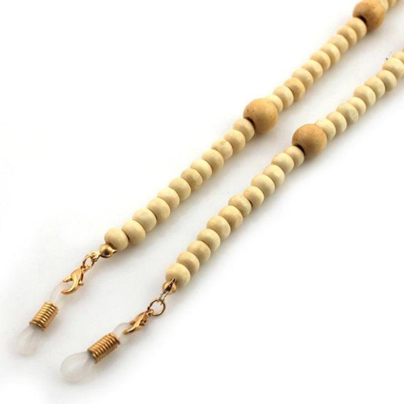 Brillenkoord hip Ibiza houten kralen 6-8mm