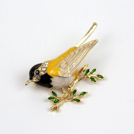 Oriole Vogel Broche Emaille
