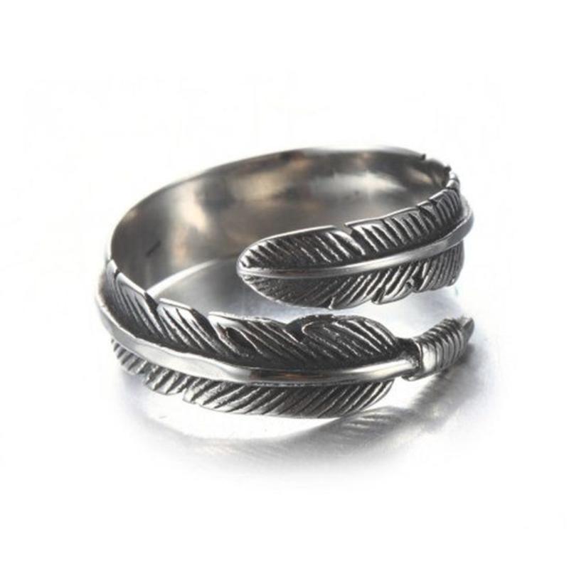 Open ring verstelbaar veren zilveren kleur