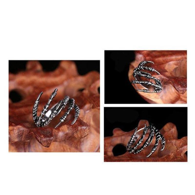 Open ring verstelbaar klauwen zilveren kleur