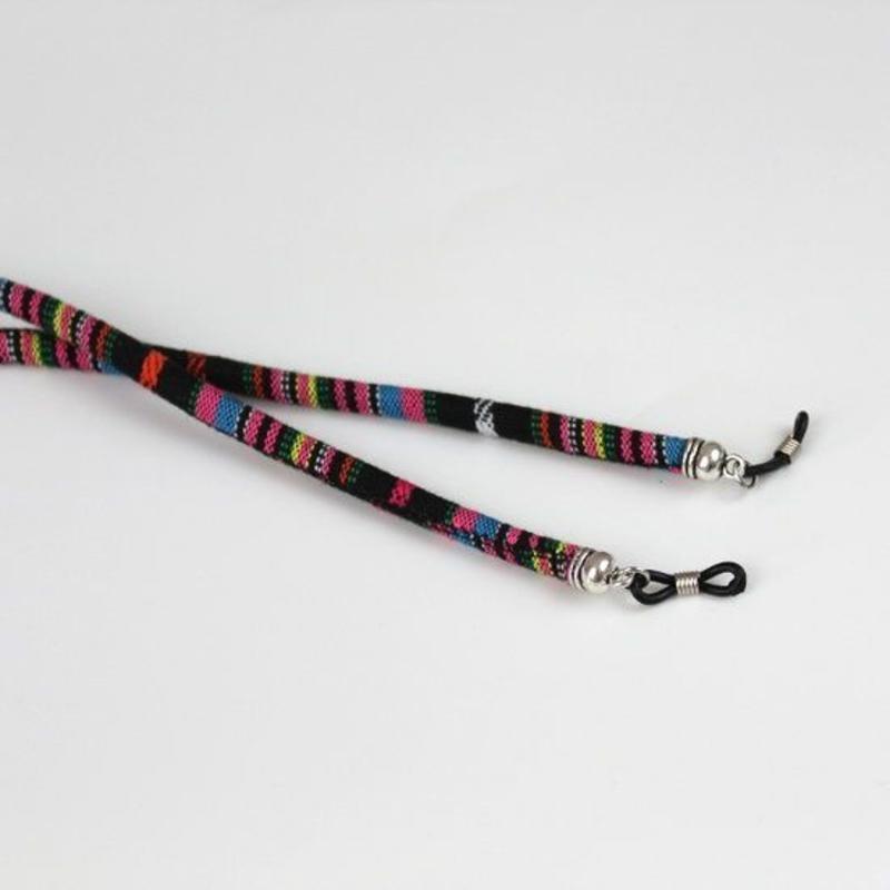 Brillenkoord hip Ibiza katoen geweven zwart met roze