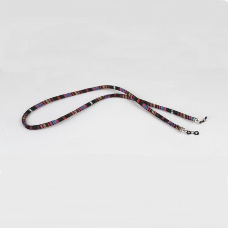 Janshop Brillenkoord hip Ibiza katoen geweven zwart met roze