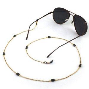 Janshop Brillenkoord hip Ibiza gouden ketting zwarte glaskralen