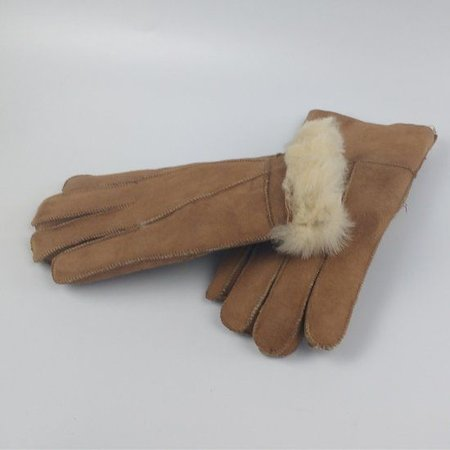 Schapenvacht Suède handschoenen bruin medium - unisex