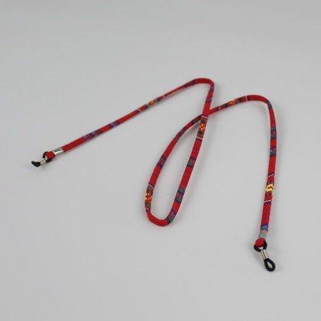 Brillenkoord hip Ibiza katoen rood plat