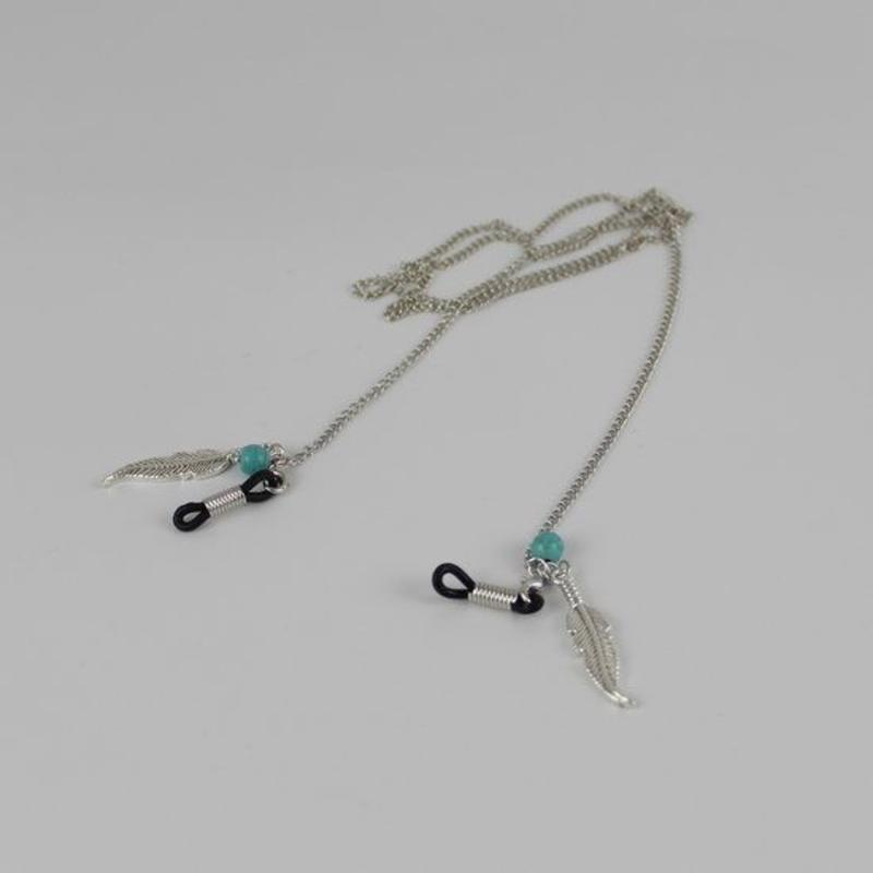 Brillenkoord hip Ibiza veren bedels met blauwe steentjes