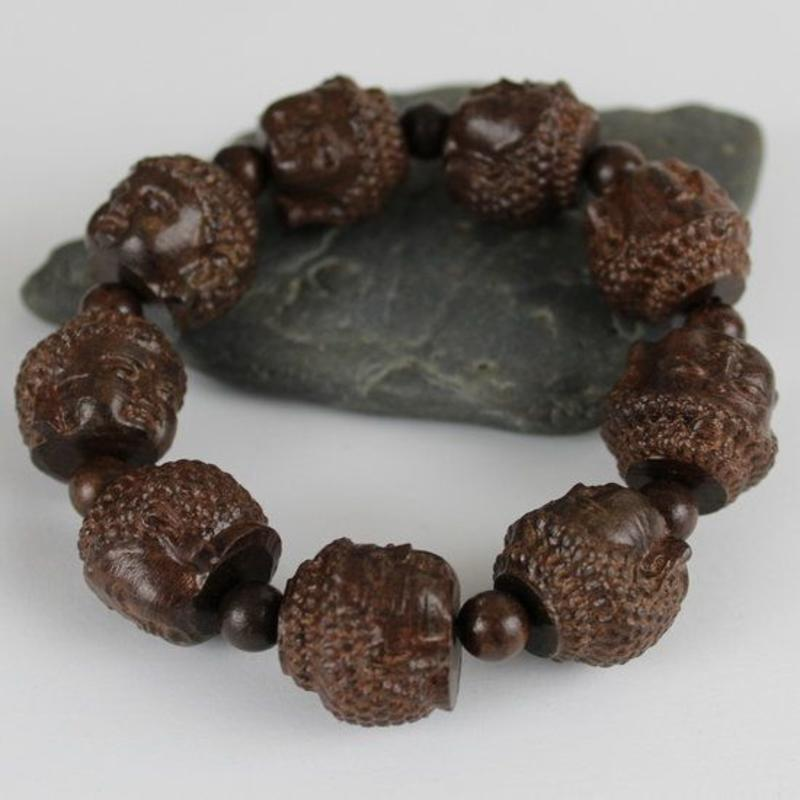 Janshop Gautama Boeddha Hoofd Agarhout Houten Armband