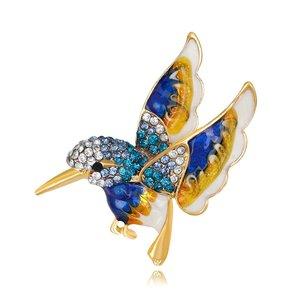 Janshop Blauwe vogel broche emaille