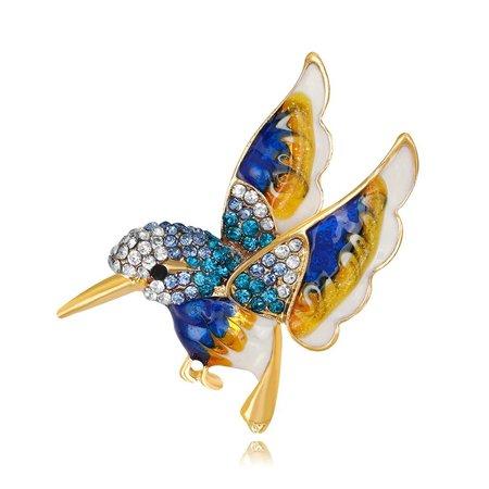 Blauwe vogel broche emaille
