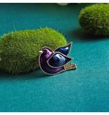 Duif vogel broche emaille paars met blauw