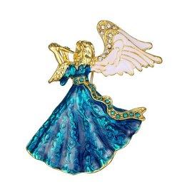 Janshop Blauwe engel broche emaille