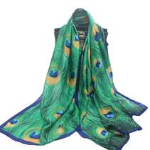 Grote Luxe Dames Sjaal Faux Zijden Pauwenveren Print Groen