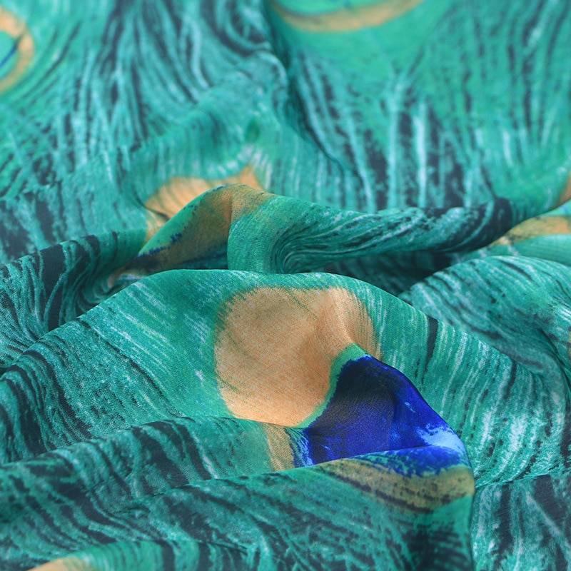 Janshop Grote Luxe Dames Sjaal Faux Zijden Pauwenveren Print Groen