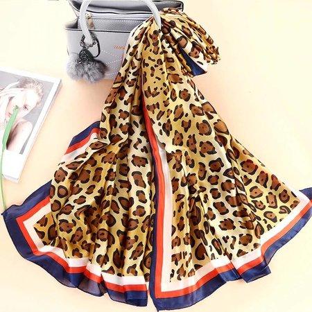 Grote Luxe Dames Sjaal Faux Zijden Luipaard Print