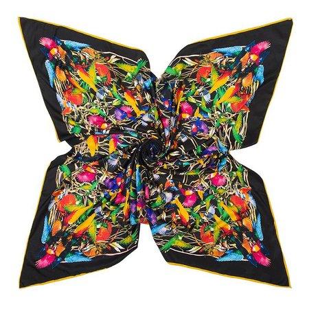 Luxe Dames Sjaal Faux Zijden Kolibrie Vogels 130x130cm