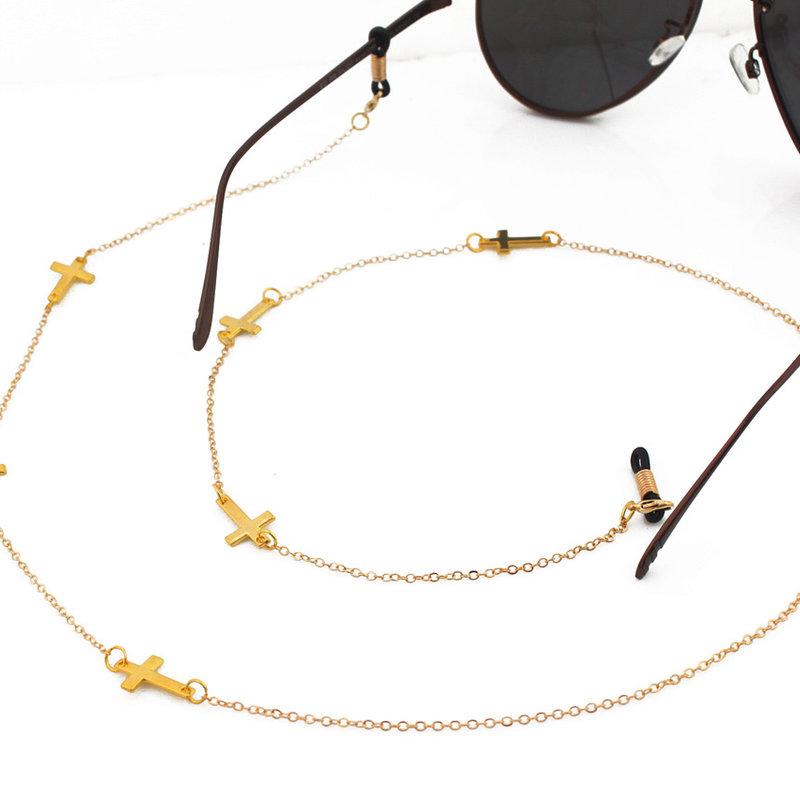 Brillenkoord hip Ibiza gouden kruisjes