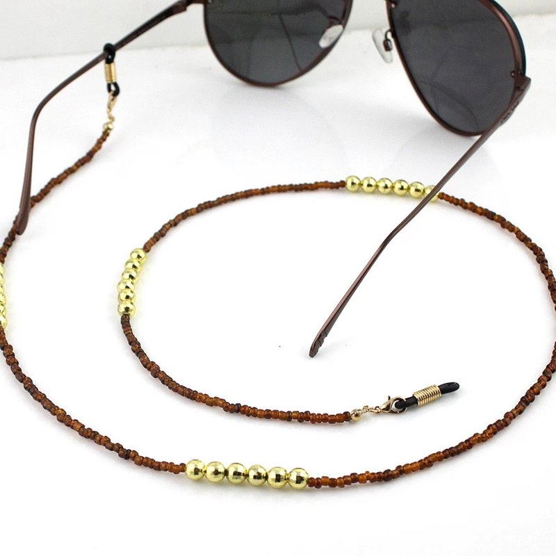 Brillenkoord hip Ibiza mooie bruine glaskralen met gouden kralen
