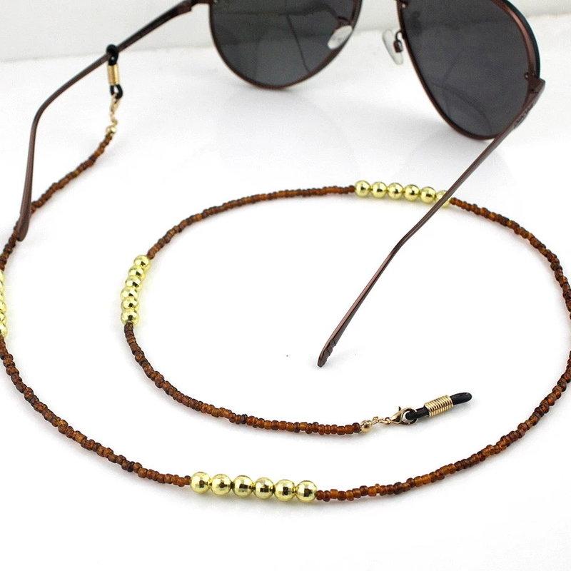 Janshop Brillenkoord hip Ibiza mooie bruine glaskralen met gouden kralen