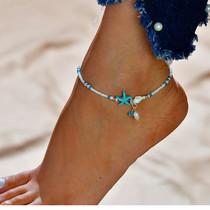 Enkelbandje ibiza schelpje en zeester turquoise kleur