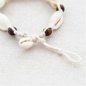 Janshop Enkelbandje touw houten kralen met schelpjes
