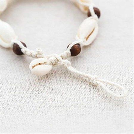 Enkelbandje touw houten kralen met schelpjes