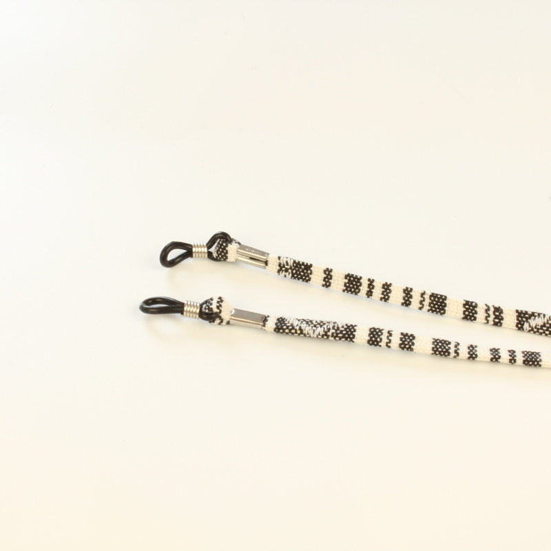 Brillenkoord hip Ibiza katoen wit met zwart plat