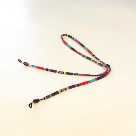 Brillenkoord hip Ibiza katoen paars kleuren mix plat