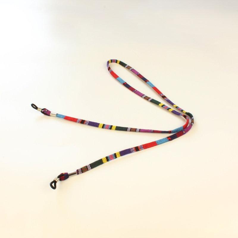 Janshop Brillenkoord hip Ibiza katoen paars kleuren mix plat
