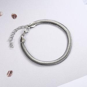 Janshop Zilverkleurige slangen enkelbandje