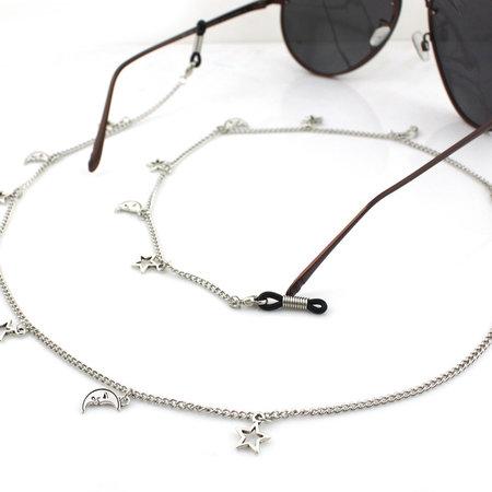 Brillenkoord hip Ibiza zilveren maan en ster bedeltjes