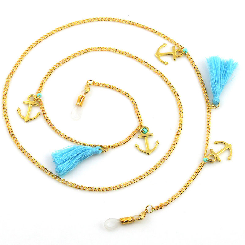 Janshop Brillenkoord hip Ibiza gouden ankers blauwe kwastjes