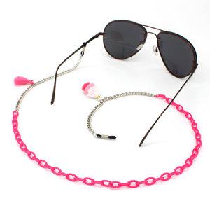 Janshop Brillenkoord hip Ibiza roze acryl met roze kwastjes