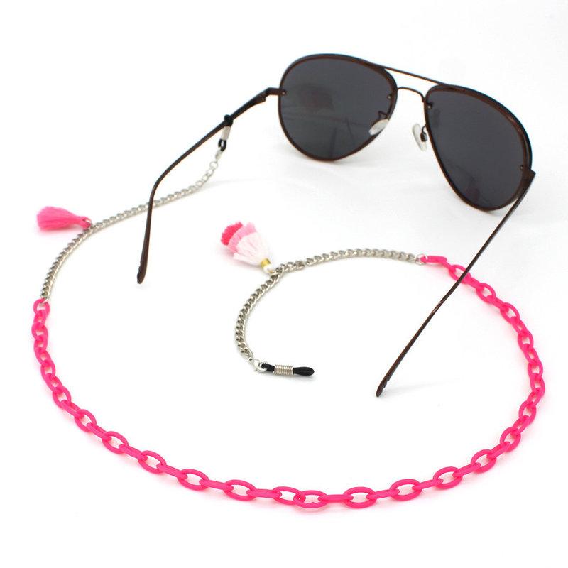 Brillenkoord hip Ibiza roze acryl met roze kwastjes