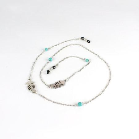 Brillenkoord hip Ibiza zilveren visgraat met turkoois kraaltjes