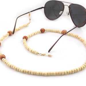 Brillenkoord hip Ibiza houten kralen 6-8mm bruin