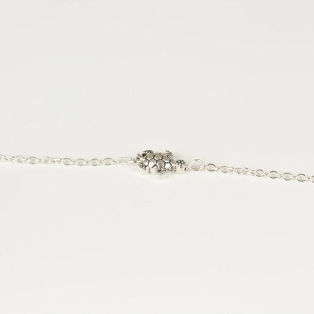 Enkelbandje metalen schildpad bedel zilverkleurig