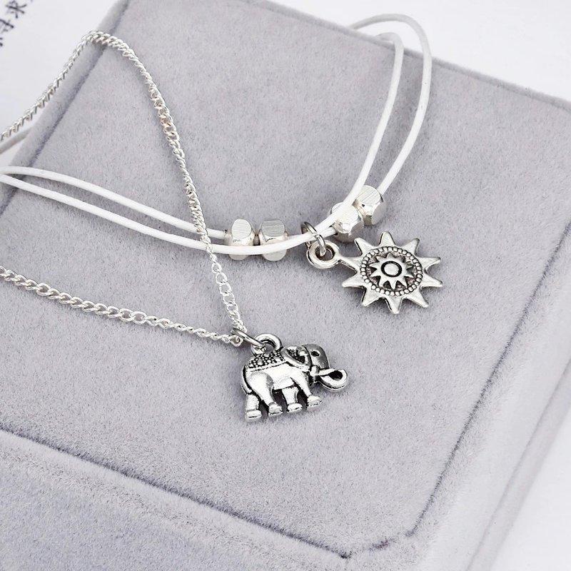 Enkelbandjes set zon en olifant bedel
