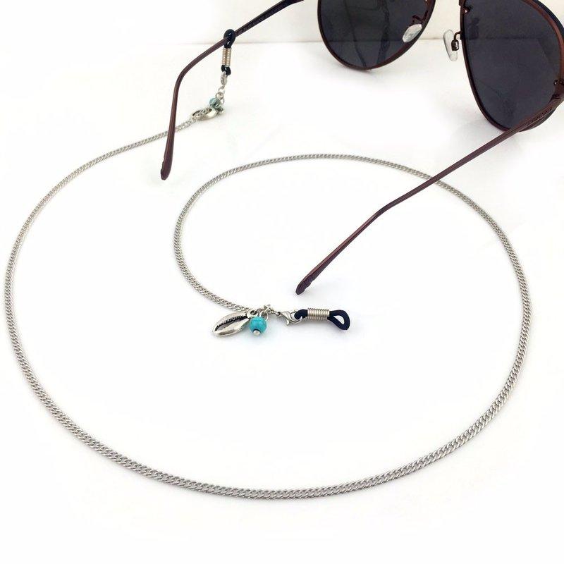 Brillenkoord hip Ibiza zilveren schelpjes met turkoois steentjes